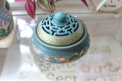 Atman Painted Ceramic Incense Bowl With Lid - Cone Incense Burner - Ash Catcher - Rope Incense Burner - Office Relaxation