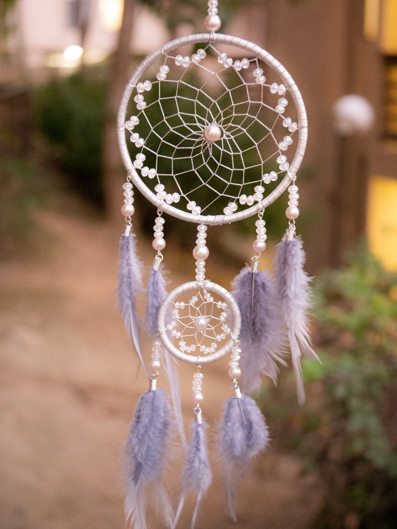 Tiva Silver Webbed Dreamcatcher With Purple Feathers & Clear Beads
