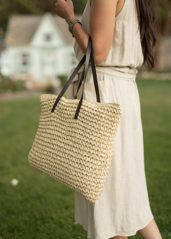 Zen in a Tote - Beige Straw Bag - Straw Beach Bag - Large Straw Tote Bag - Straw Market Bag - Reusable Straw Bag