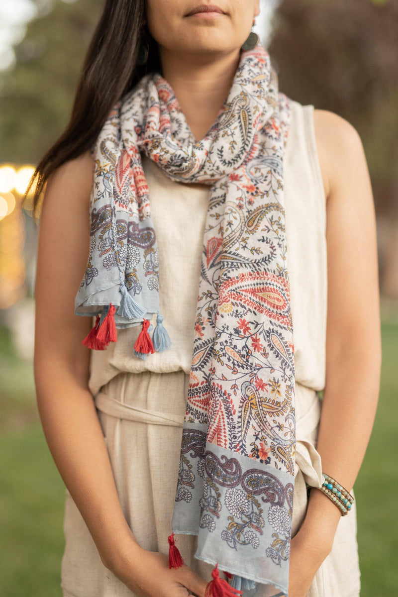 Paisley Long Lightweight Scarf - Breathable Hip Scarf - Autumn Scarf - Festival Scarf - Rectangular Scarves