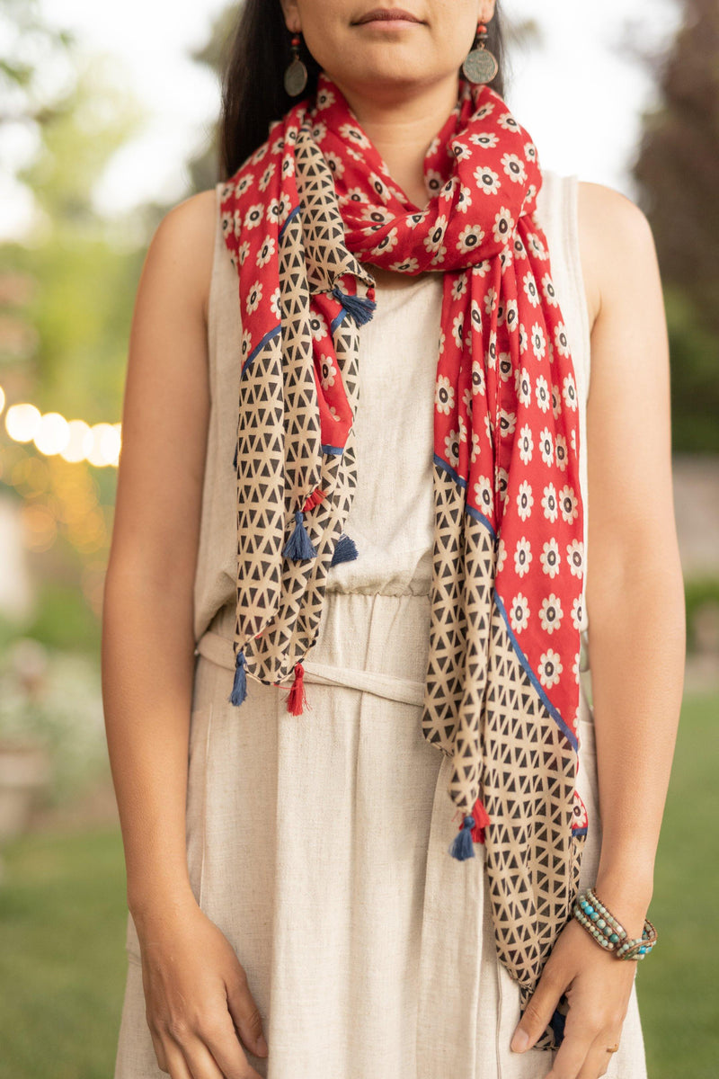 Cool Cat Red Long Cotton Scarf - Lightweight Scarf - Autumn Scarf - Festival Scarf - Rectangular Scarves