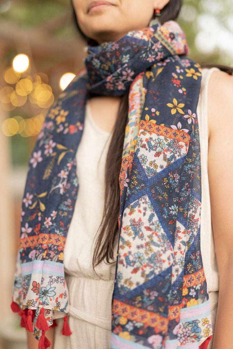 Wildflower Blue Floral Long Lightweight Scarf - Breathable Hip Scarf - Autumn Scarf - Rectangular Scarves