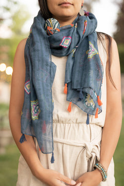 Groovy Blue Vintage Long - Breathable Hip Scarf - Autumn Scarf - Festival Scarf - Rectangular Scarves - Pure Chakra