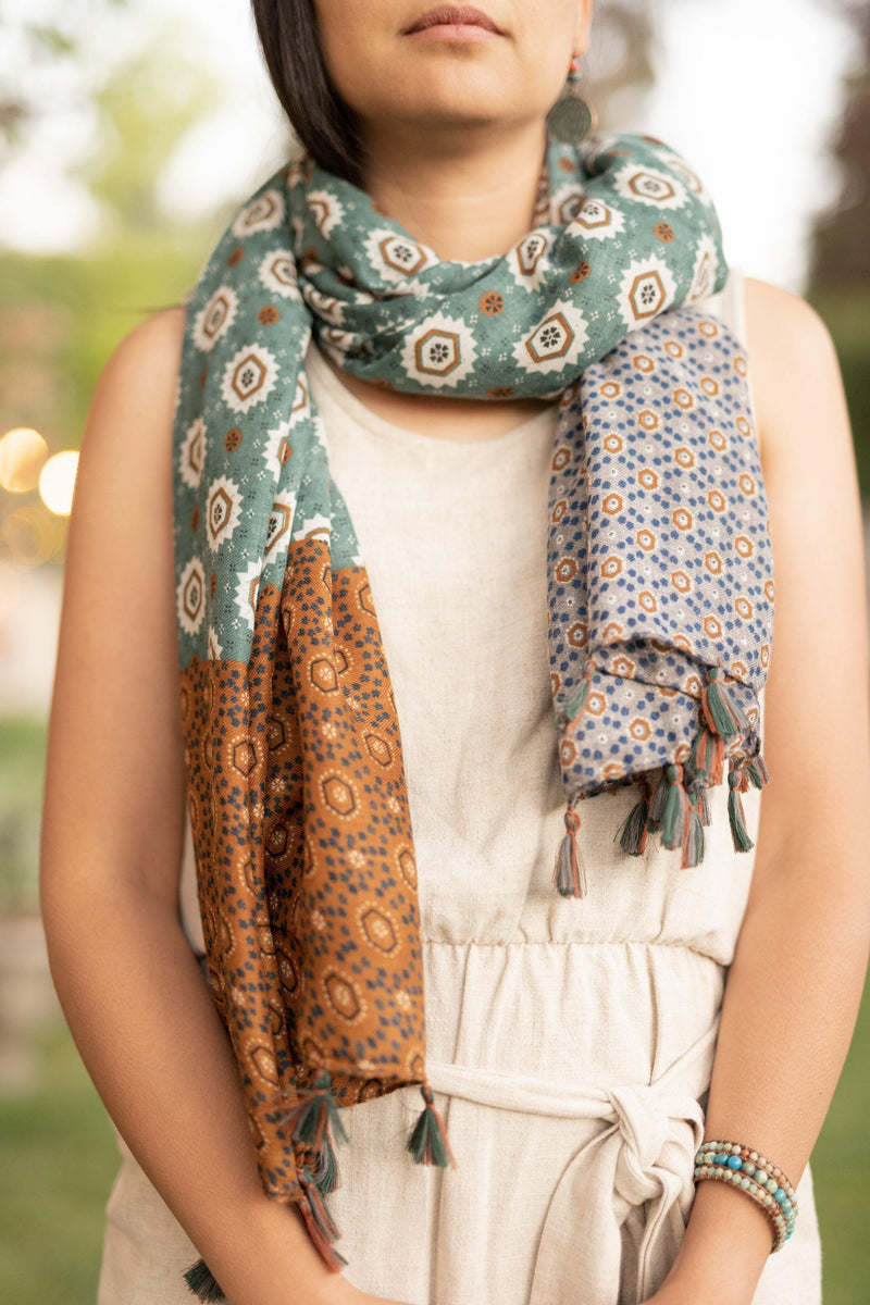 Persian Green Gold Long Lightweight Scarf - Autumn Scarf - Festival Scarf - Rectangular Scarves