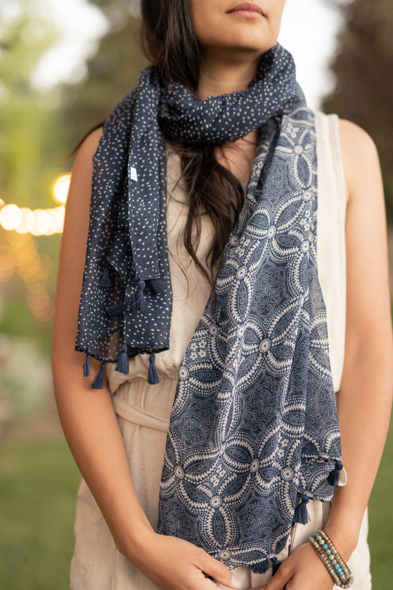 Trillium Blue Long Lightweight Scarf - Breathable Hip Scarf - Autumn Scarf - Festival Scarf - Rectangular Scarves