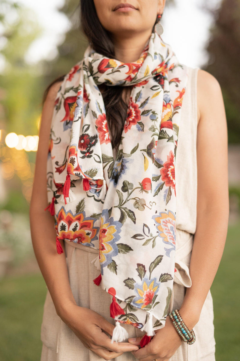 Spira Floral White Red Flowers Long Lightweight Scarf - Breathable Scarf - Autumn Scarf - Festival Scarf