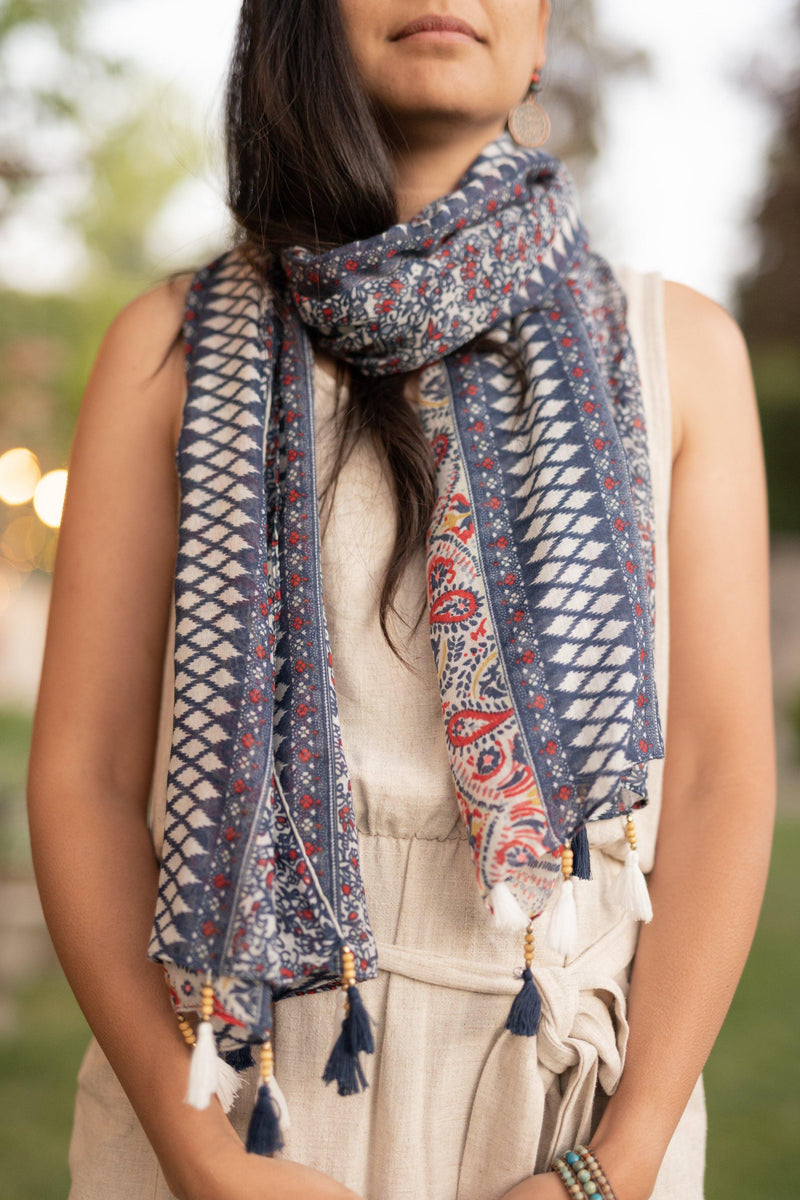 Meadow Blue Long Lightweight Scarf - Breathable Hip Scarf - Autumn Scarf - Festival Scarf