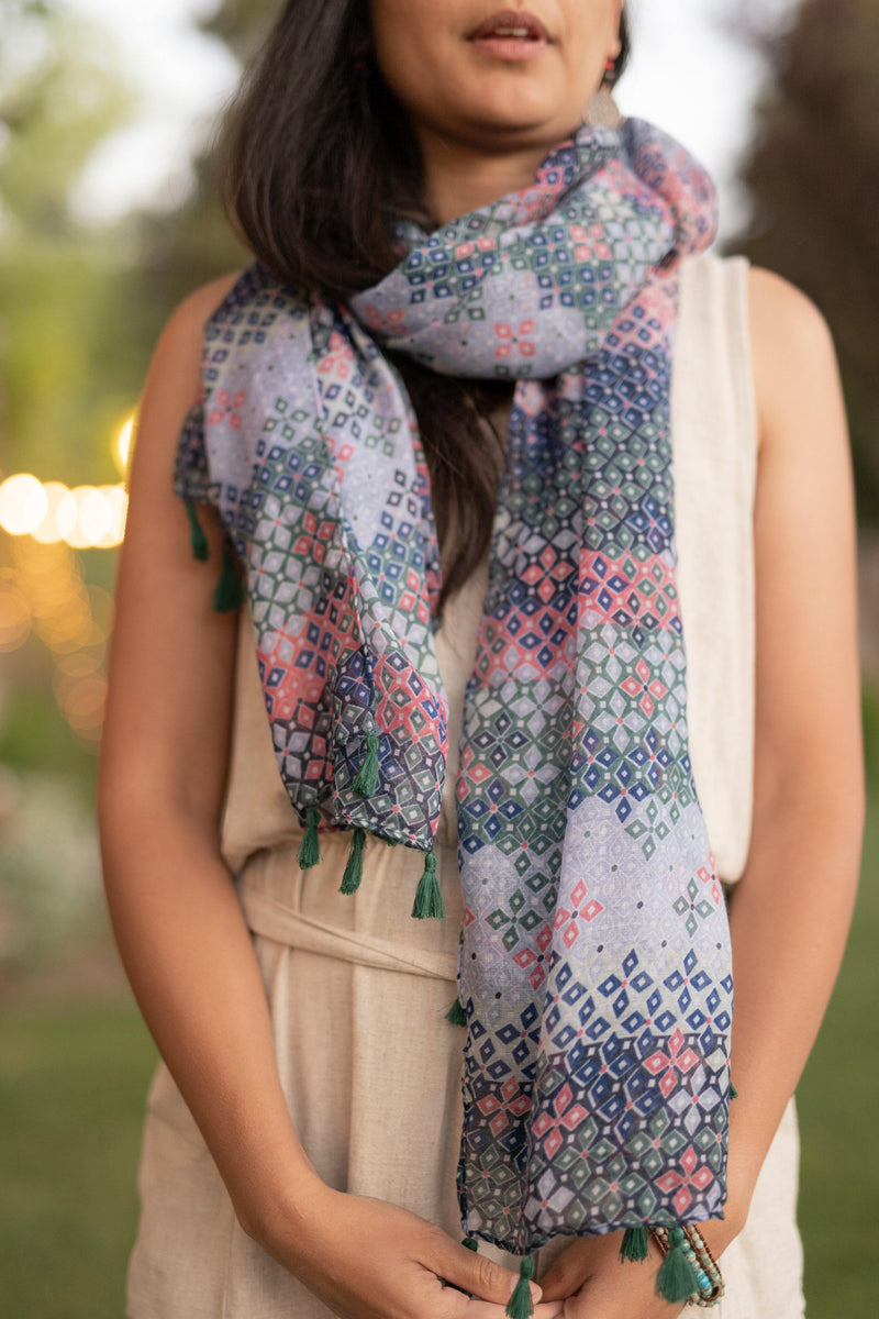 Pixie Blue Pink Long Lightweight Scarf - Autumn Scarf - Festival Scarf - Rectangular Scarves
