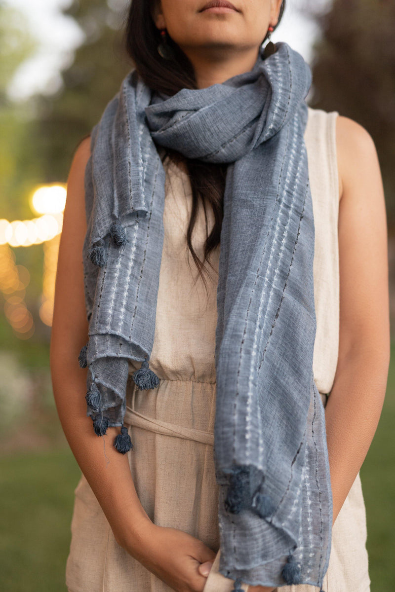 River Blue Long Cotton Scarf - Lightweight Scarf - Autumn Scarf - Festival Scarf - Rectangular Scarves