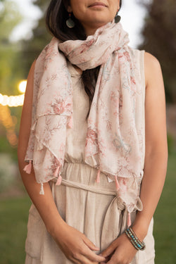 Vintage Floral Long Lightweight Scarf - Breathable Scarf - Autumn Scarf - Festival Scarf