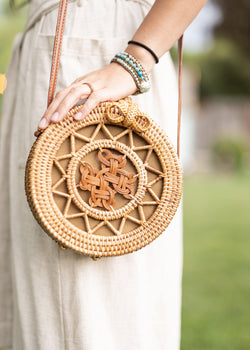 Sunshine in a Purse - Round Rattan Bag - Straw Bag - Straw Purse - Straw Beach Bag - Hippie Bag