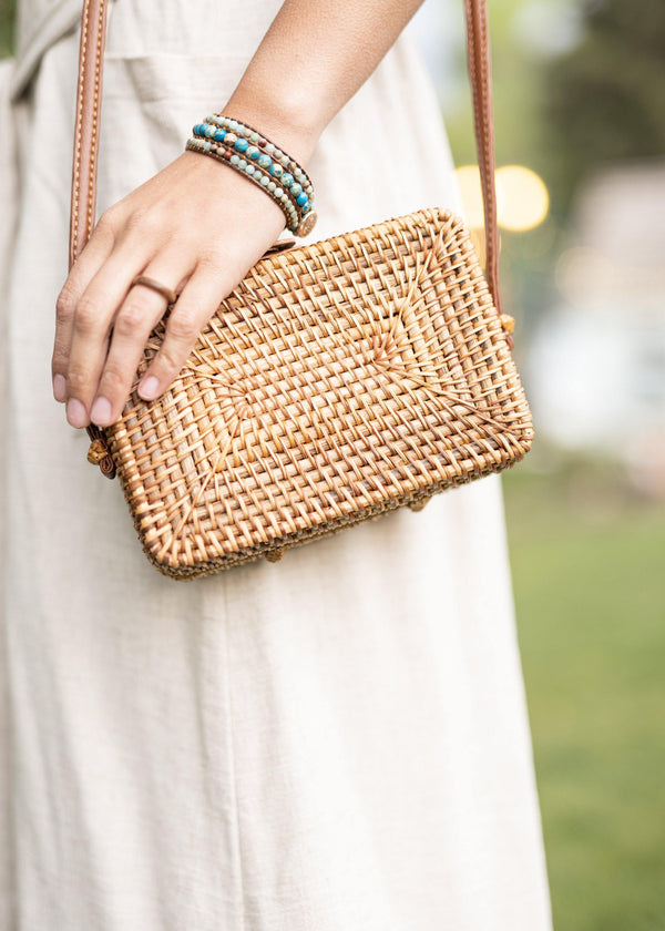 Summer in a Purse - Rectangular Rattan Bag - Straw Bag - Straw Purse - Straw Beach Bag - Hippie Bag