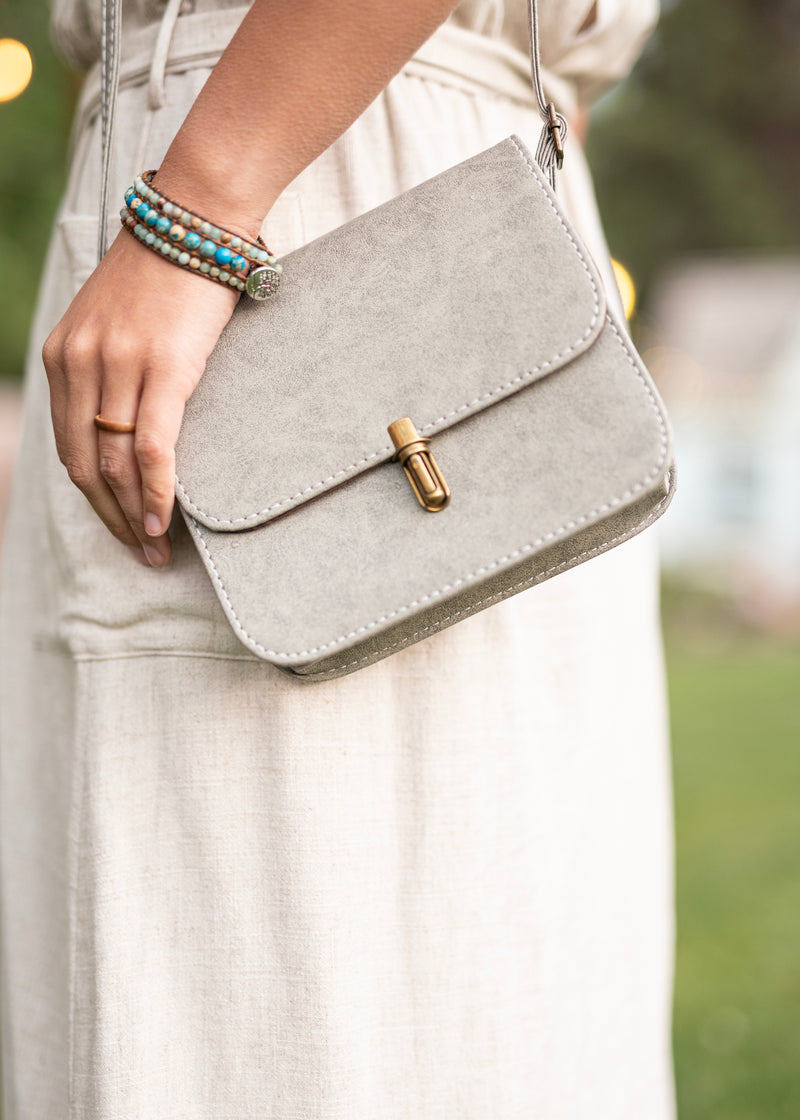 Love in a Purse - Gray Small Crossbody Purse - Hippie Bag - Hippie Purse - Cell Phone Purse - Faux Small Leather Purse
