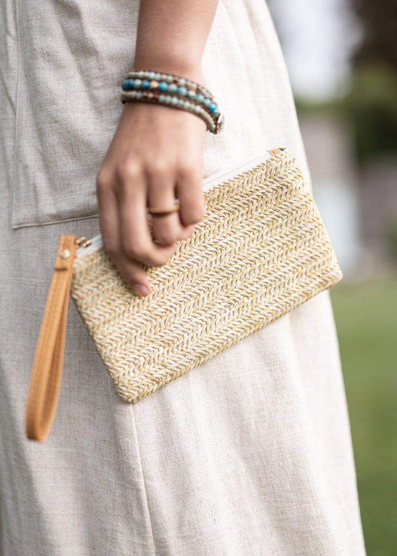 Cassia Beige Small Straw Clutch - Small Straw Purse - Womens Wallet Clutch - Womens Credit Card Holder