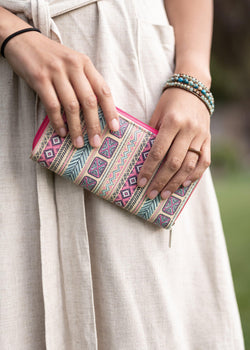 Groovy Colorful Clutch - Womens Wallet Clutch - Hippie Purse - Womens Credit Card Holder