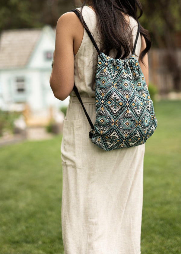 Fes Native Drawstring Backpack - Hobo Bag - Mini Backpack - Canvas Backpack - Hippie Bag & Purse