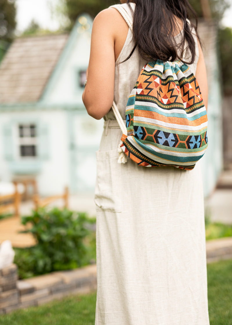Native Cute Drawstring Backpack - Hobo Bag - Mini Backpack - Canvas Backpack - Hippie Bag & Purse
