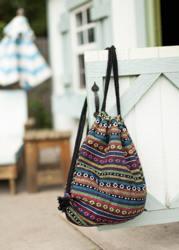 Geo Native Drawstring Backpack - Hobo Bag - Mini Backpack - Canvas Backpack - Hippie Bag & Purse