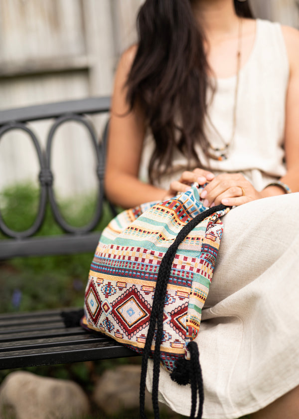 Tribal Native Drawstring Backpack - Hobo Bag - Mini Backpack - Canvas Backpack - Hippie Bag & Purse