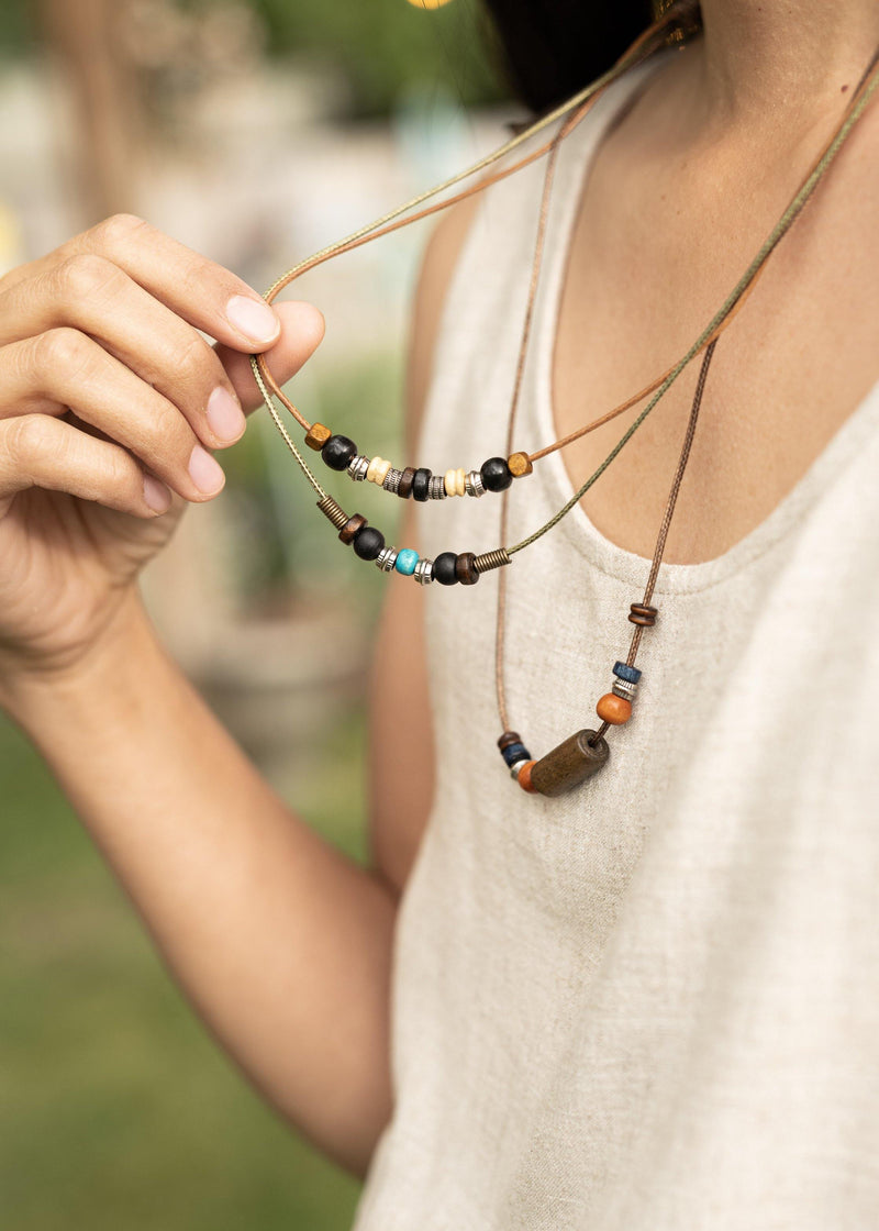 Sparrow Wood & Beads Multiple Stranded Hippie Charm Necklace -  Hippy Necklace