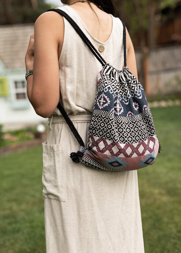 Bali Native Drawstring Backpack - Hobo Bag - Mini Backpack - Canvas Backpack - Hippie Bag & Purse