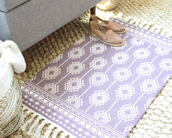 Rhodes Geometric Rug - Purple Rectangular Rug - Colorful Rug - Prayer Rug - Morrocan Rug - Mexico Rug