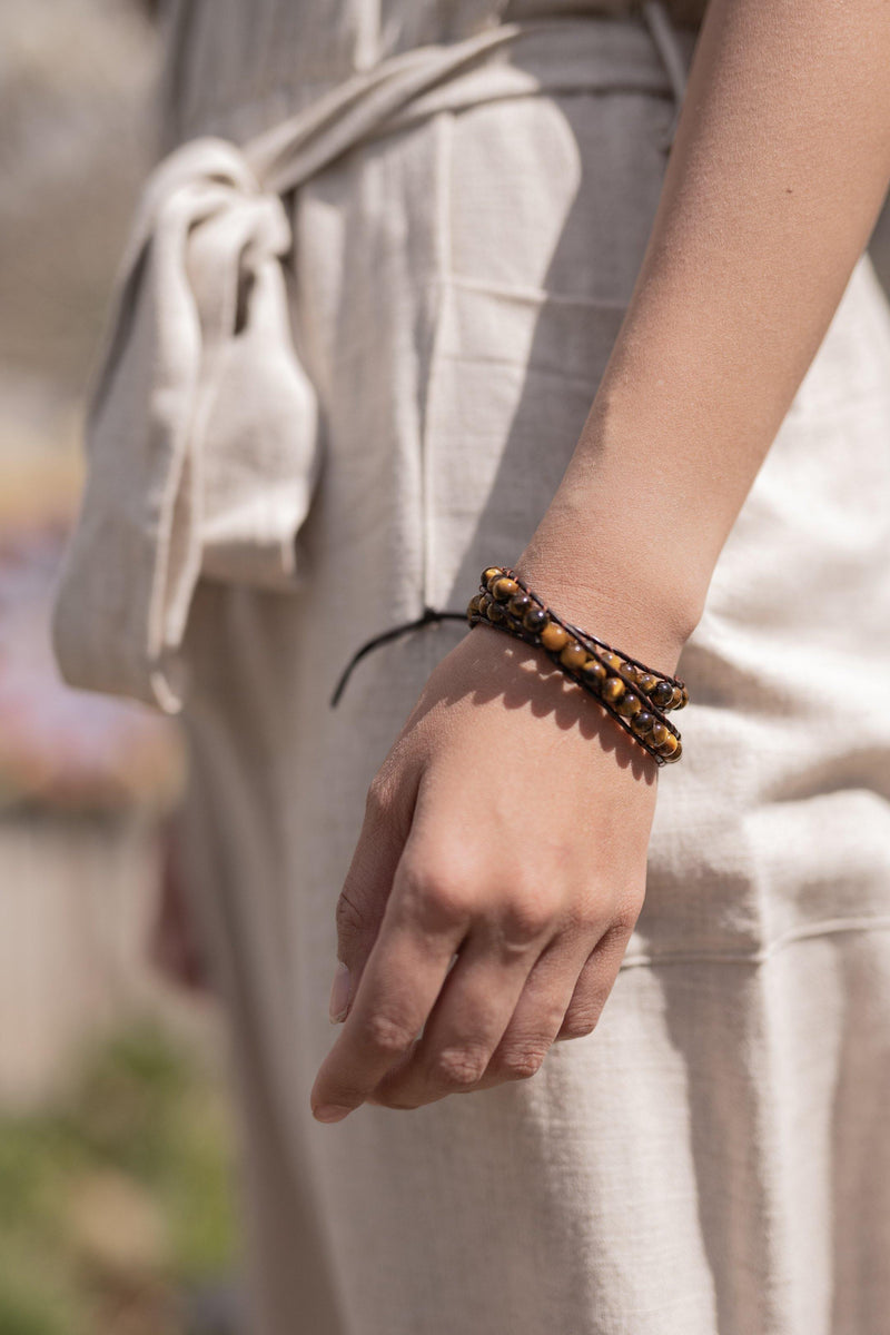 Arlo Tiger Eye Natural Stone Lucky Bracelet - Anxiety Bracelet - Stone Wrap - Supernatural Jewelry