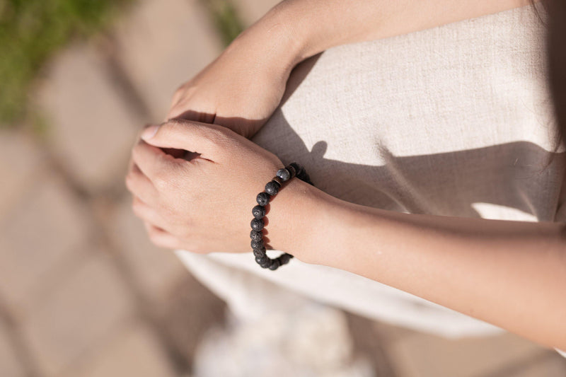 Kawaii Black Lava Stone Natural Stone Lucky Bracelet - Anxiety Bracelet - Stone Wrap - Supernatural Jewelry
