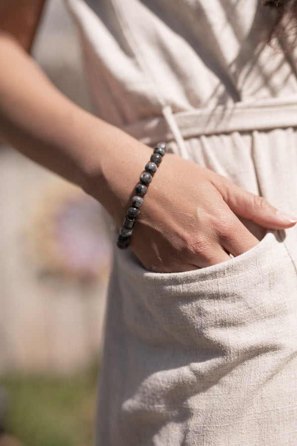 Raven Polished Black & Gray Stone Natural Stone Lucky Bracelet - Stone Wrap - Supernatural Jewelry