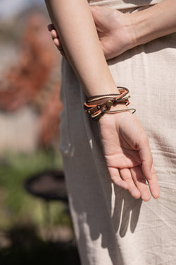 Chill Faux Leather Brown Beige Wrap - Double Wrap Leather Bracelet - Stranded Wrap Bracelet