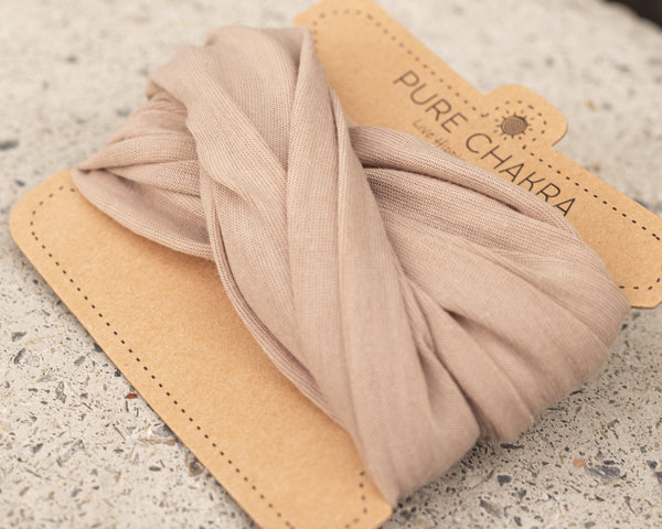 Pure Beige Wide Hippie Headband - Washable Mask - Face Mask Adults - Cloth Face Mask - Buff Gaitor