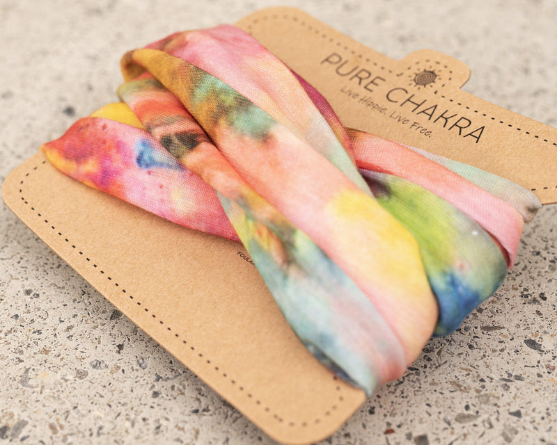 Far Out Tie Dye Wide Hippie Headband & Face Mask Buff