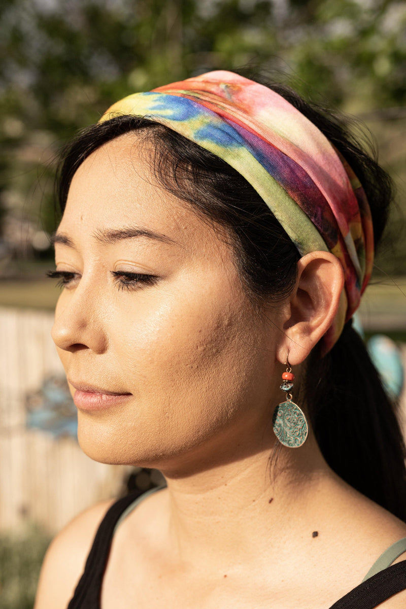 Far Out Tie Dye Wide Hippie Headband & Face Mask