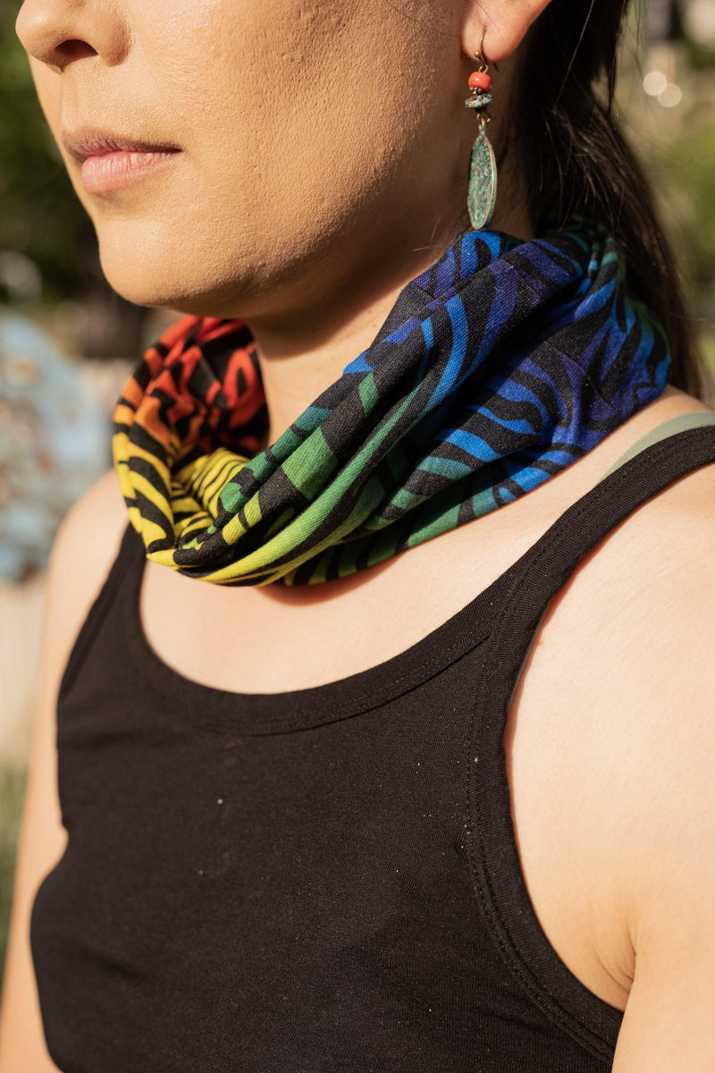 Groovy Rainbow Hippie Headband - Hair Bandana - Face Mask Adults - Cloth Face Mask - Buff Gaitor
