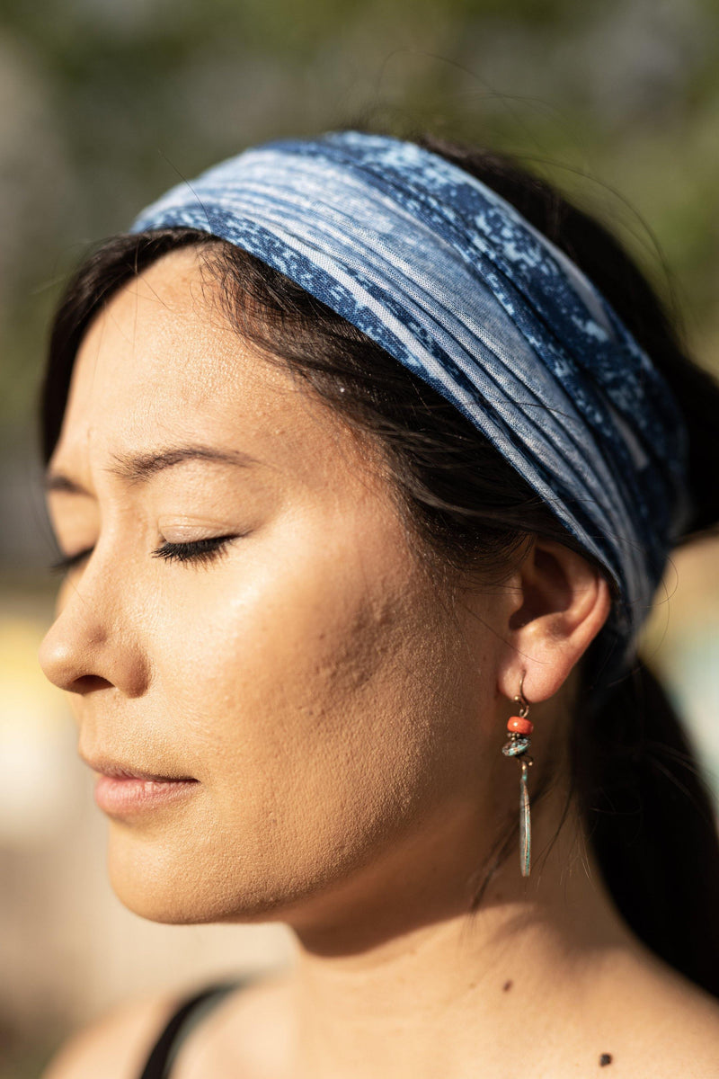 Static Blue Hippie Wide Headband - Washable Mask - Cloth Face Mask - Multifunctional Headband - Buff Gaitor