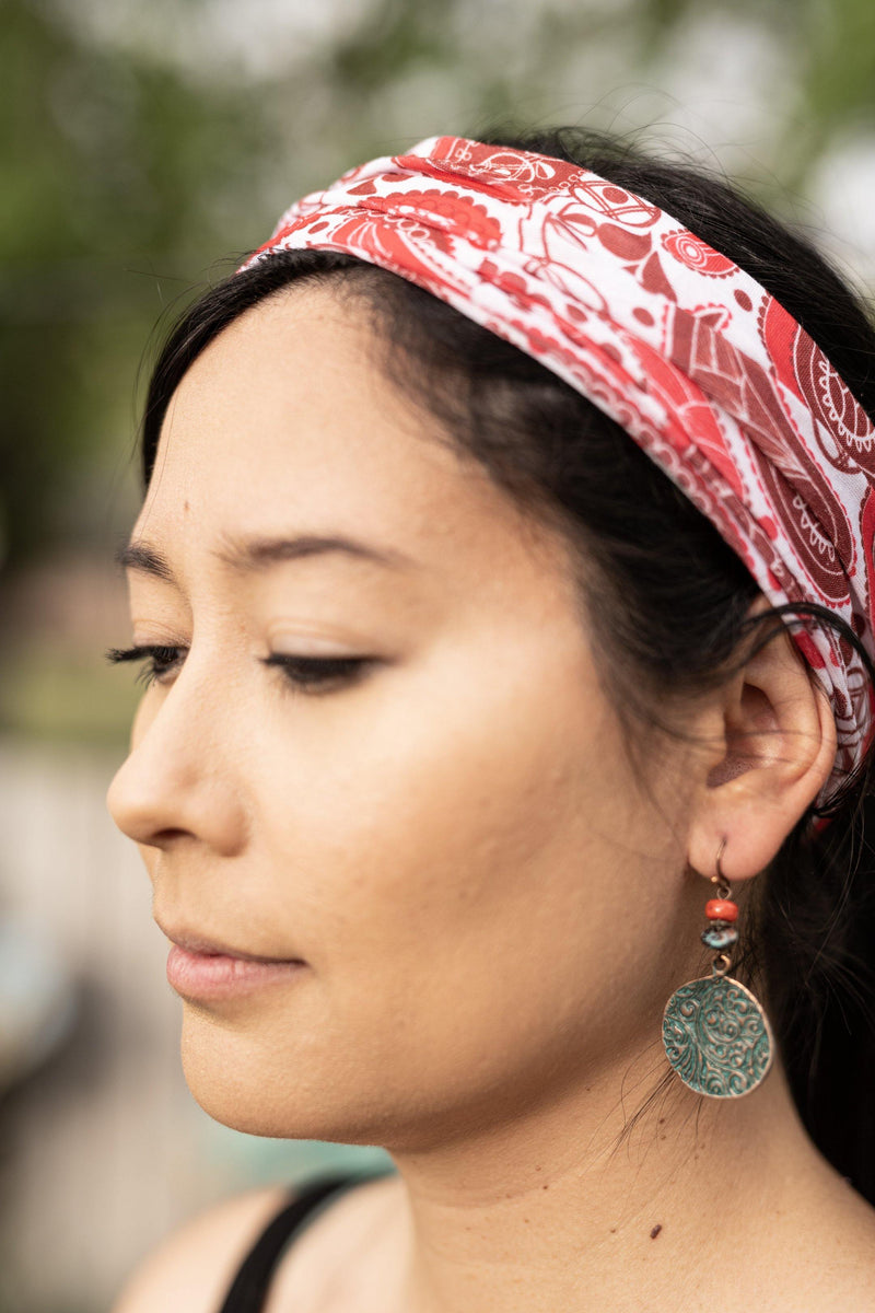 Tribal In Red Hippie Wide Headband - Washable Mask - Cloth Face Mask - Multifunctional Headband - Buff Gaitor