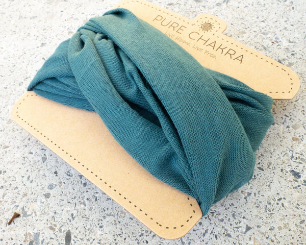 Pure Teal Hippie Headband - Washable Mask - Cloth Face Mask - Yoga Headband - Buff Gaitor - Adjustable Headband