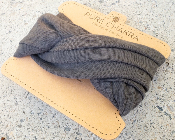 Pure Dark Gray Hippie Wide Headband - Washable Mask - Bandana Mask - Multifunctional Headband - Neck Gaitor