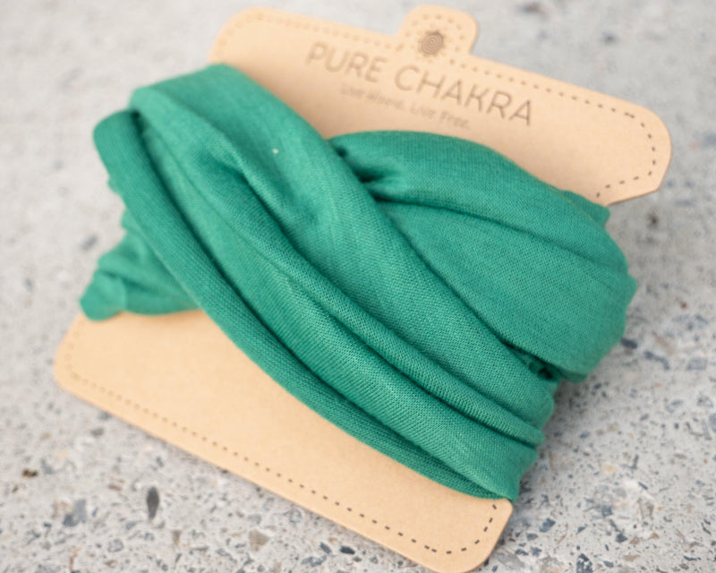 Pure Green Multifunctional Headband & Mask - Nurse headband – Scrunch Headband – Yoga Headband - Pure Chakra