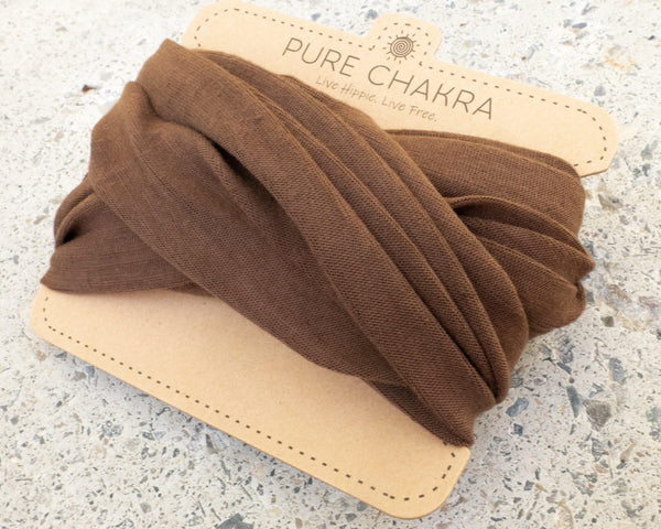 Pure Brown Multifunctional Headband - Hippie Headband - Washable Mask - Lightweight Mask