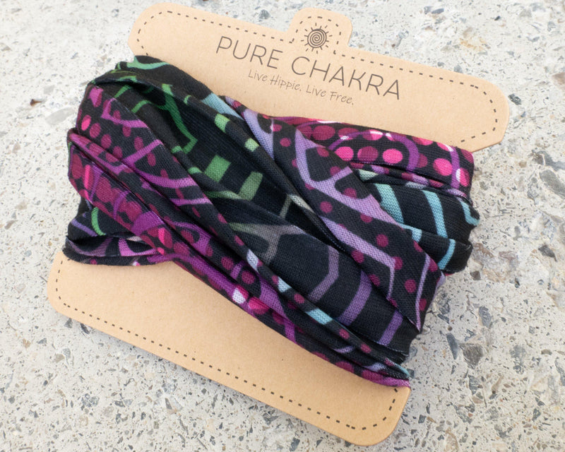 Neon Nights Hippie Headband - Wide Headband - Multi-functional Mask - Washable Face Mask