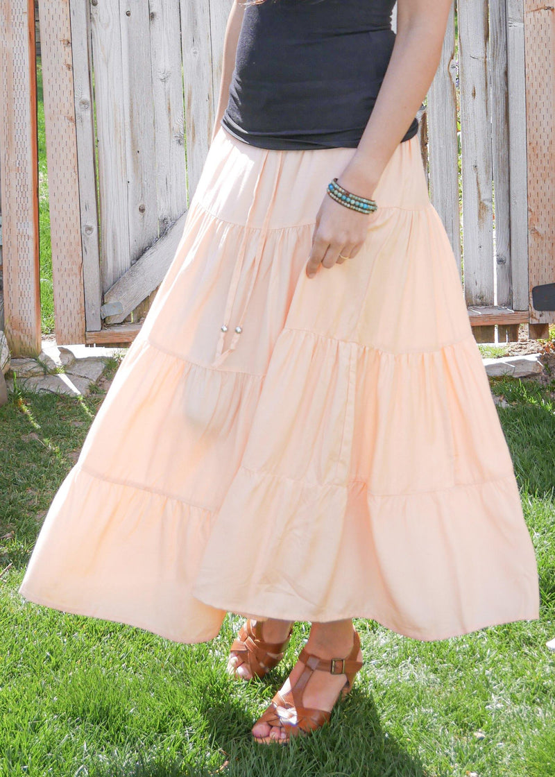 Amani In Natural Pink - Bamboo Skirt - Tiered Skirt - Long Peasant Skirt - Hippie Skirt - Gypsy - Maxi Skirt