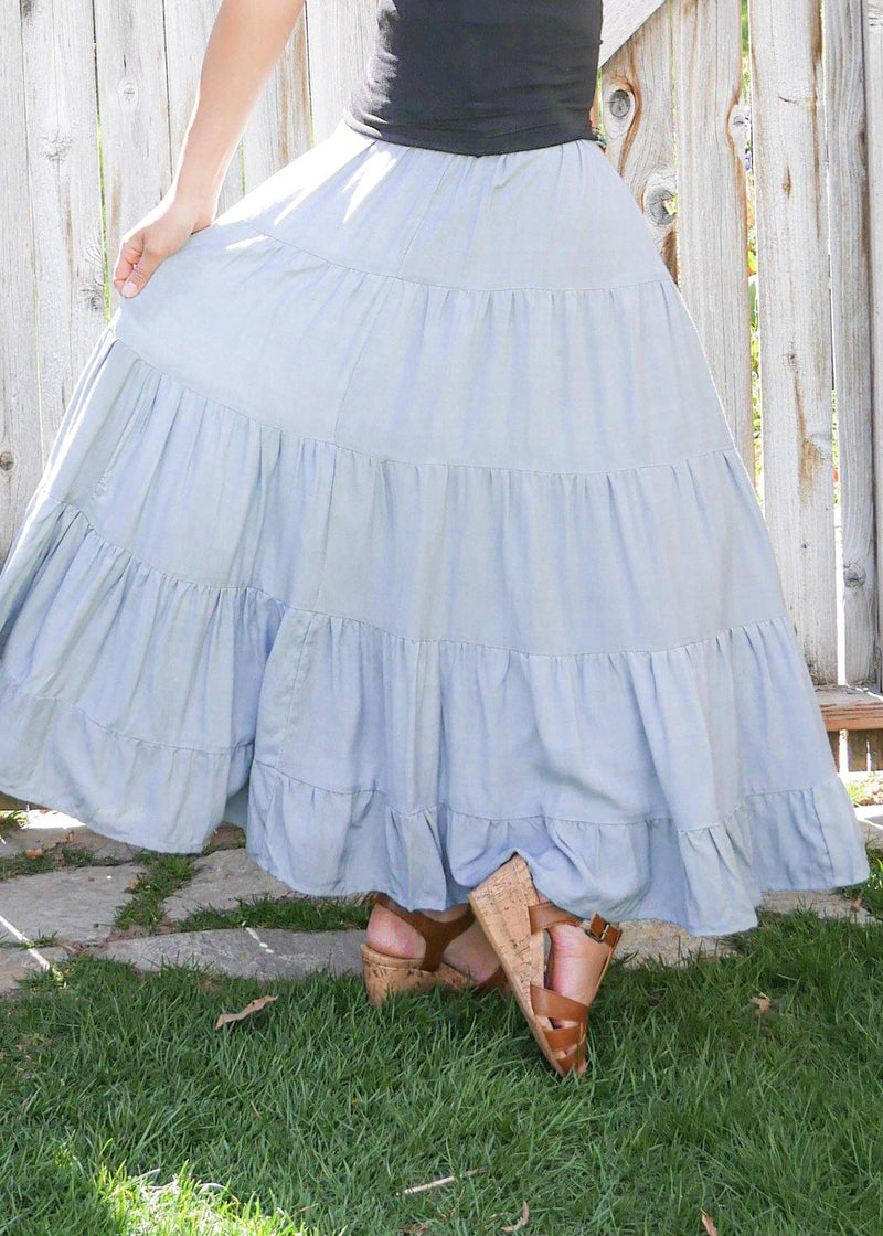 Dove in Sky Blue - Tiered Bamboo Skirt - Long Peasant Skirt - Hippie Skirt - Gypsy Skirt - Maxi Skirt