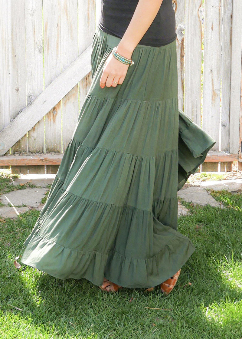 Dove In Forest Green - Bamboo Skirt - Tiered Long Peasant Skirt - Hippie Skirt - Gypsy Skirt - Maxi Skirt