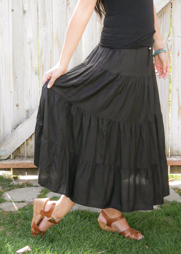 Amani In Simple Black - Bamboo Skirt - Tiered Skirt - Long Peasant Skirt - Hippie Skirt - Gypsy - Maxi Skirt