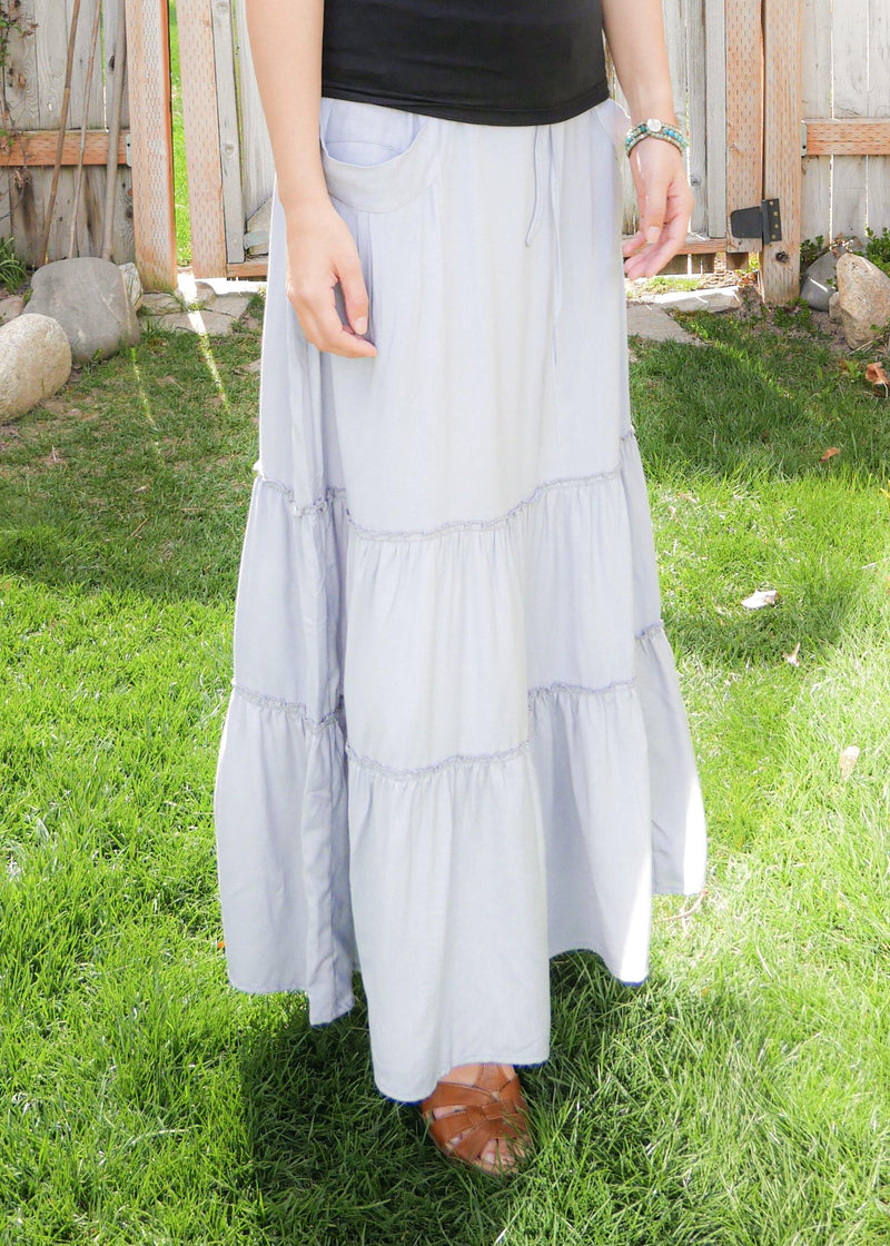 Celeste in Sky Blue - Bamboo Skirt With Pockets - Tiered Long Peasant Skirt - Skirt With Pockets - Hippie Skirt - Gypsy Skirt - Maxi Skirt
