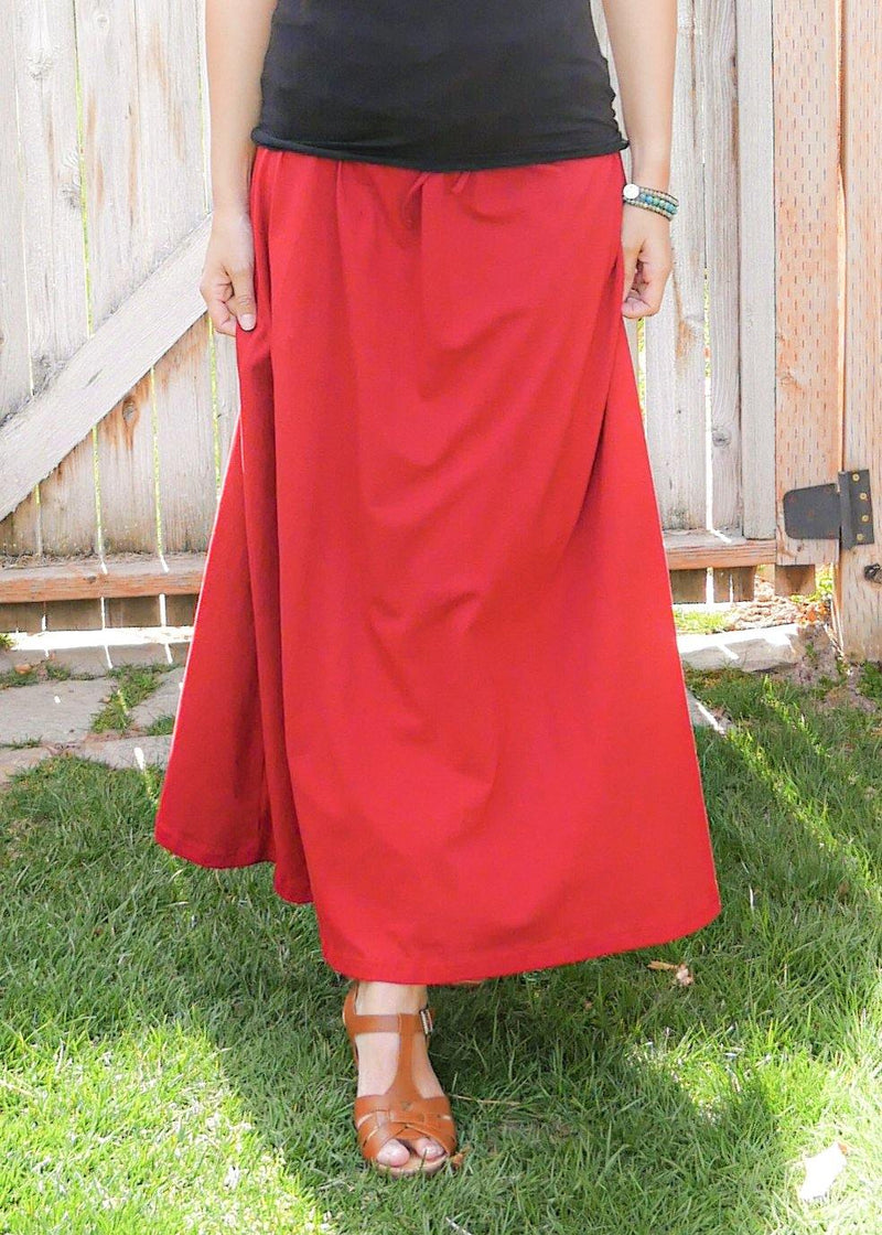 Shanta in Pure Red Skirt - Organic Cotton Skirt - Long Peasant Skirt - Hippie Skirt - Gypsy Skirt - Maxi Skirt