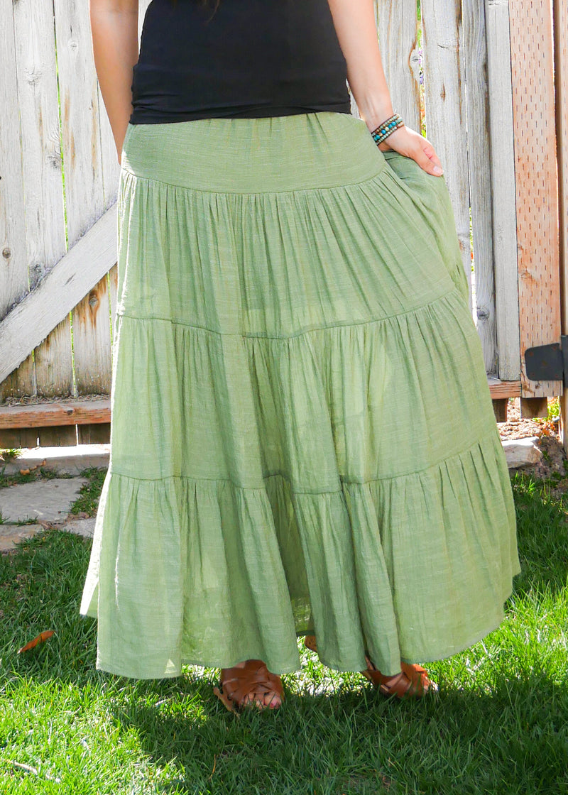 Florence in Green - Tiered Long Peasant Skirt - Hippie Skirt - Gypsy Skirt - Maxi Skirt