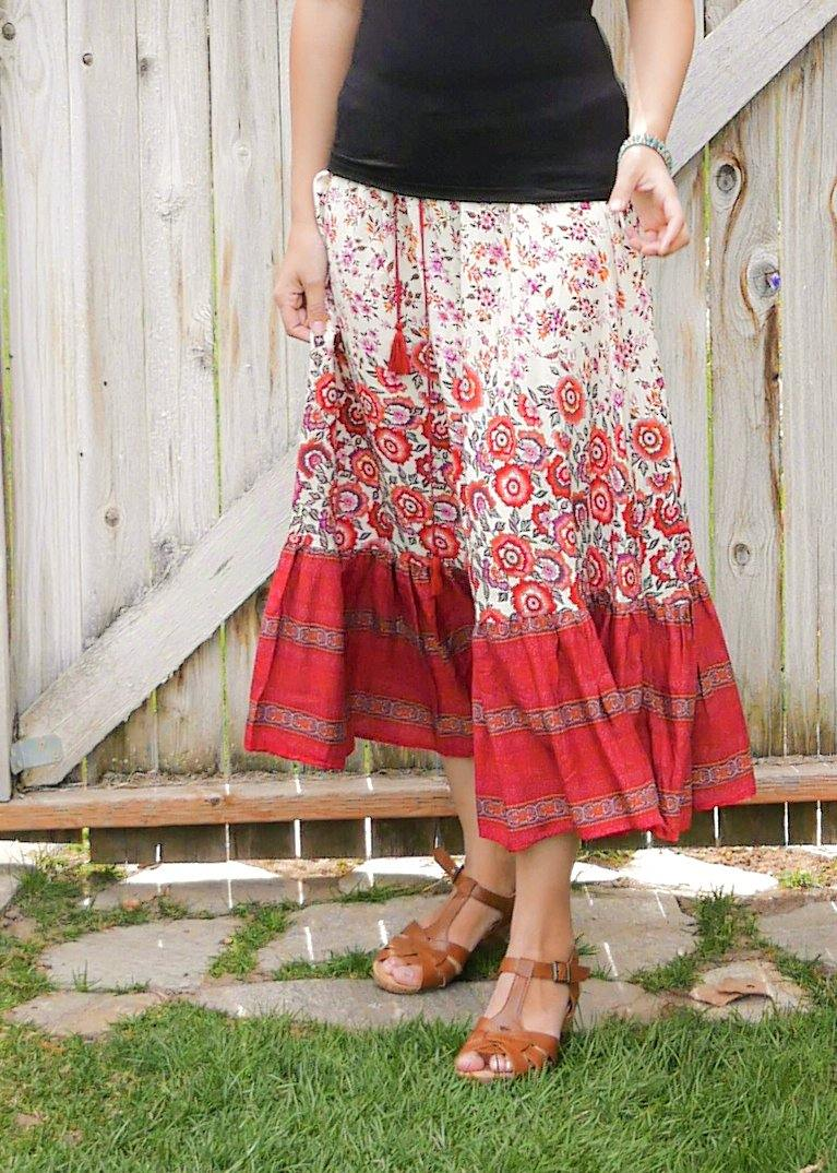 Tillandsia Floral Red & White Skirt - Long Peasant Skirt - Hippie Skirt - Gypsy Skirt - Maxi Skirt