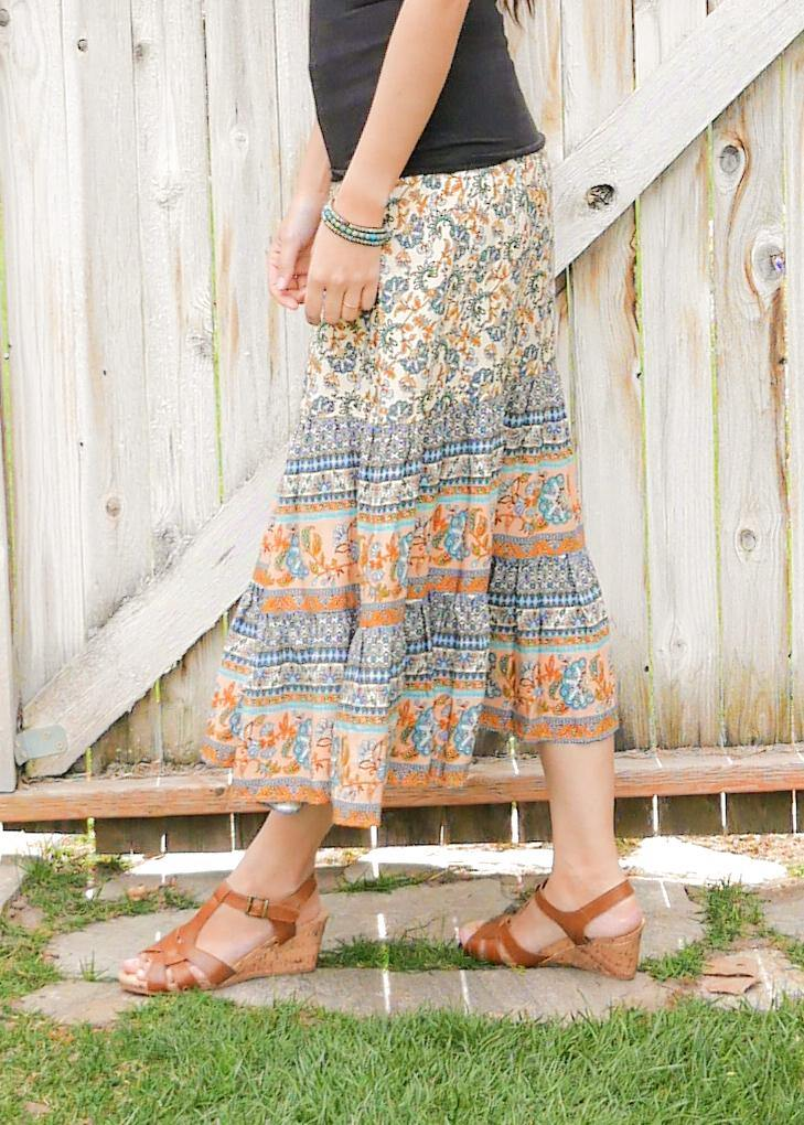 Clementine Floral Orange & Blue Skirt - Tiered Long Peasant Skirt - Hippie Skirt - Gypsy Skirt - Maxi Skirt
